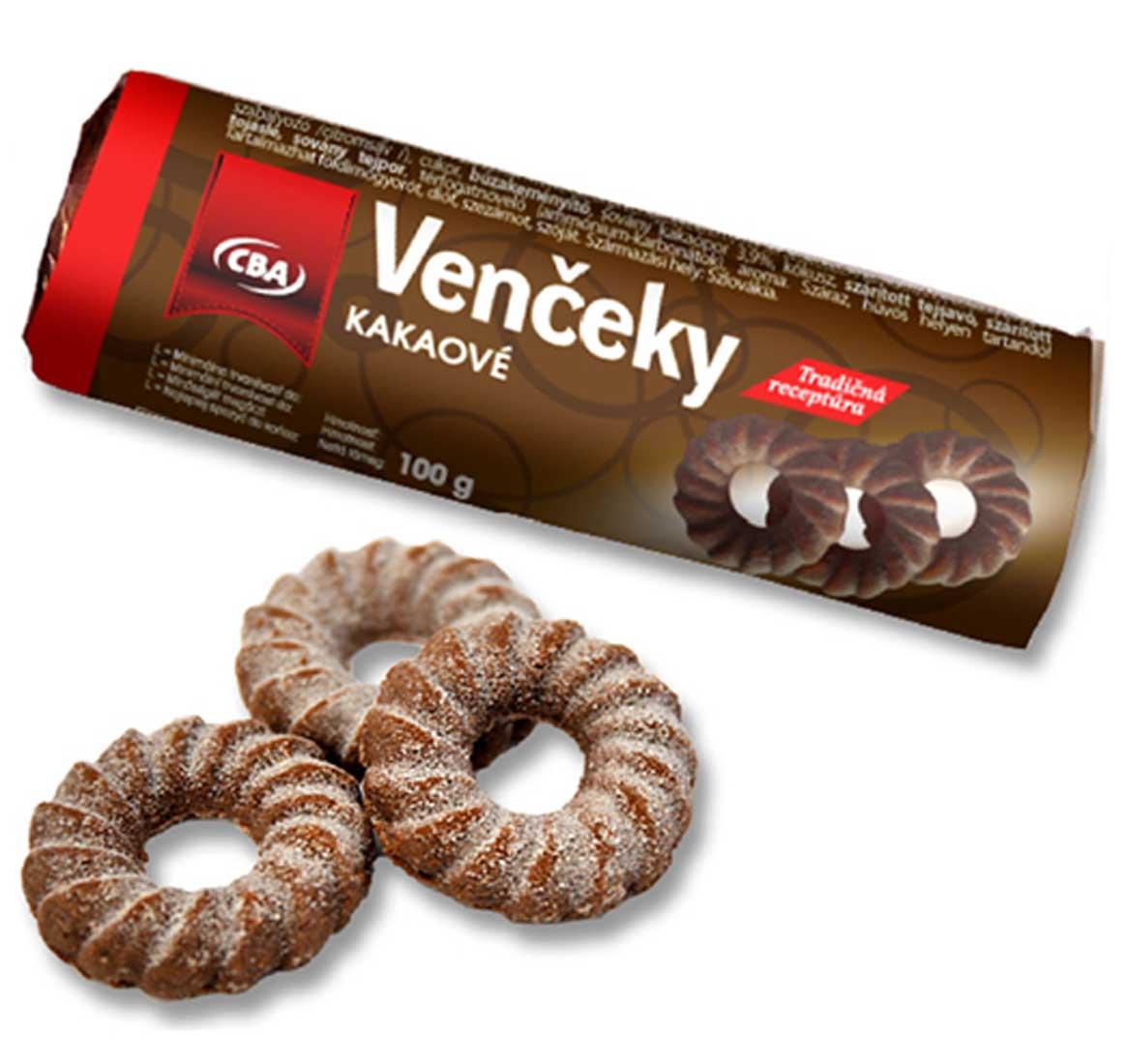 CBA Kakaové venčeky sušienky obaľované 100 g