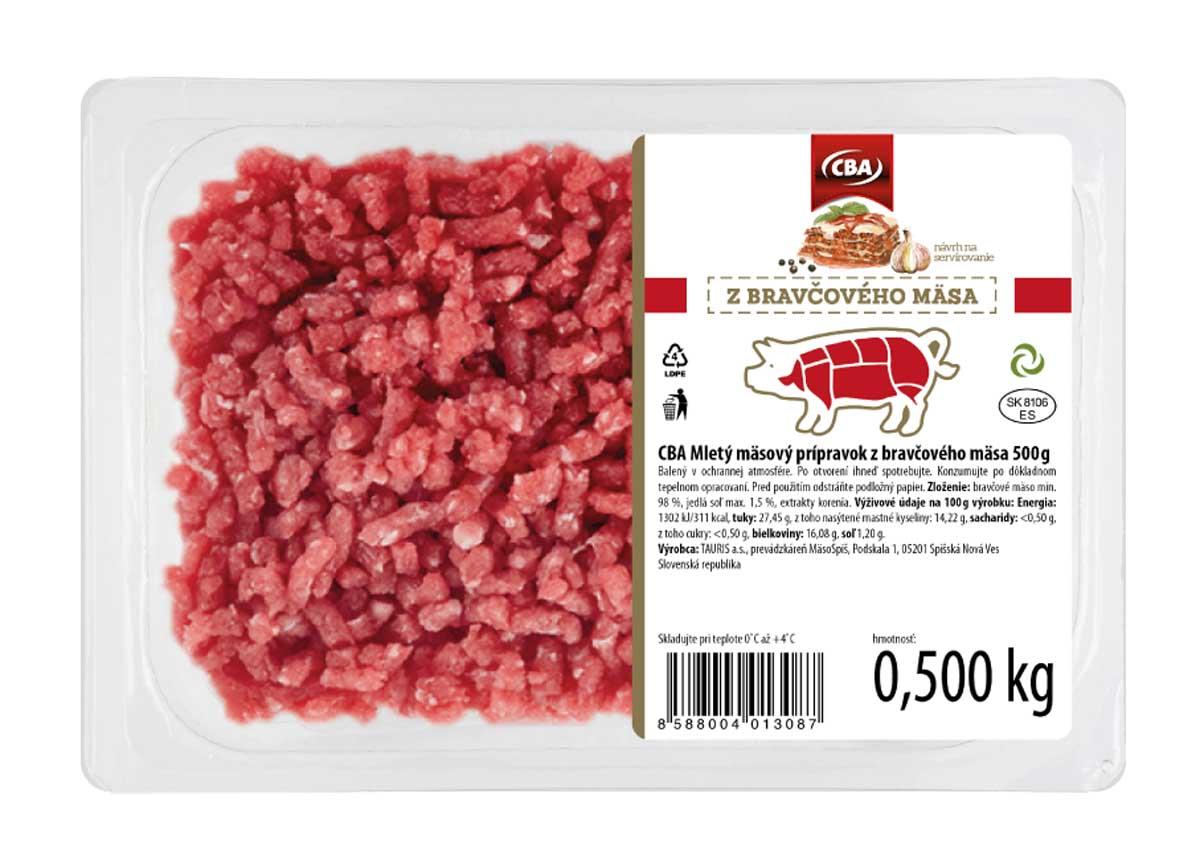 CBA mletý mäsový prípravok z bravčového mäsa 500g